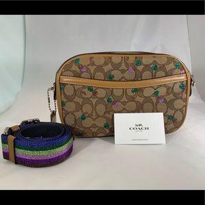 Coach Khaki and Cherries Cross Body purse